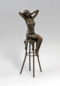 Bronze Frau auf Barhocker Collinet 9937937-dss