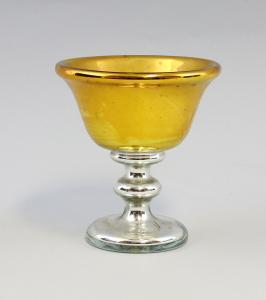 8335020 Glas Fuß-Schale Bauernsilber Böhmen um 1870