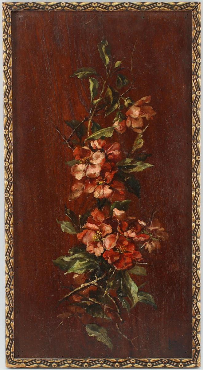 8460018 Ölgemälde Holzmalerei Apfelblüten Apfelstrauch signiert Holzplatte 0