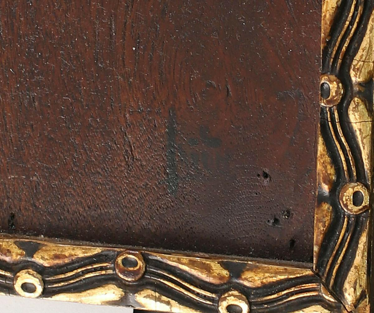 8460018 Ölgemälde Holzmalerei Apfelblüten Apfelstrauch signiert Holzplatte 1