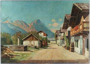 8460015 Ölgemälde signiert Zimmer Garmisch-Patenkirchen Alpen Zugspitze um 1920