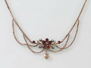 8425003 Granat Collier rot vergoldet um 1880 L44cm