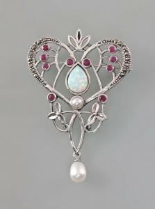 8425063 925er Silber Brosche Jugendstil mit Opalen Rubinen und Zuchtperlen