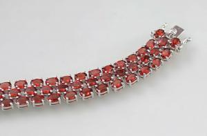 8425010 925er Silber Granat-Armband L18,5cm