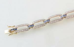8425079 750er GG Gold Armband Saphir Brillant L20cm