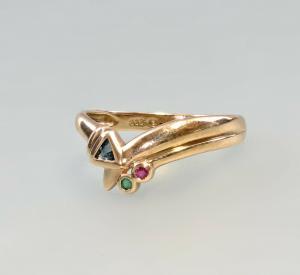 8425117 333er GG Gold Ring Saphir Rubin Smaragd Gr.57
