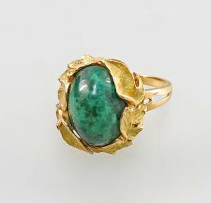8425105 750er GG Gold Ring Malachit(?) Gr.55