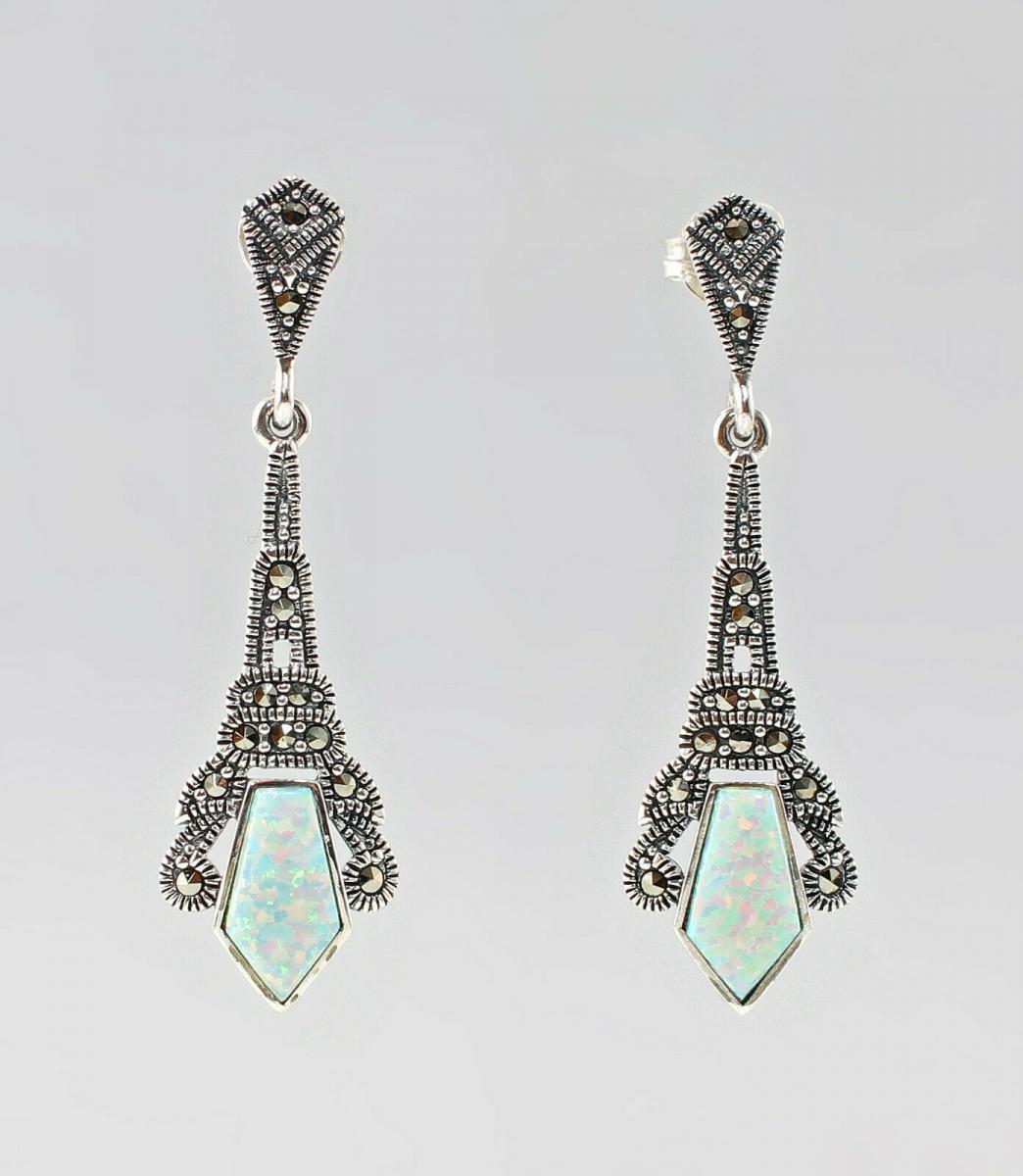 9927624 925er Silber Ohrringe Opal Markasiten 0
