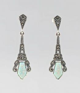 8425152 925er Silber Ohrringe Opal Markasiten