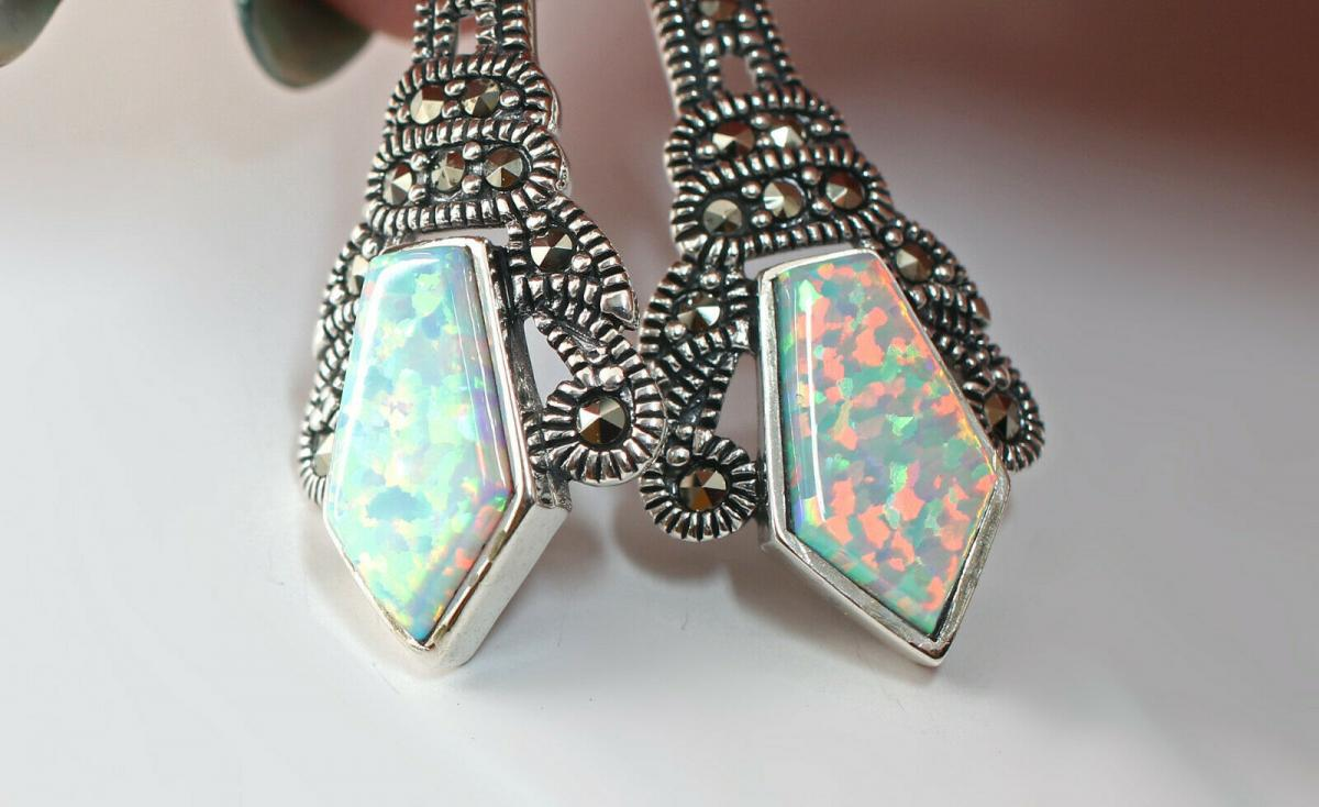 9927624 925er Silber Ohrringe Opal Markasiten 1