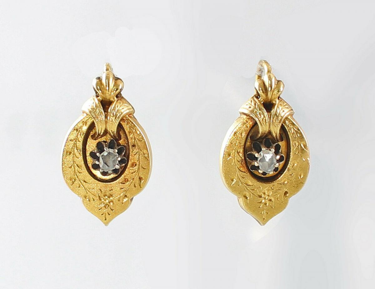 8425044 333er GG Gold Ohrringe Spätbiedermeier Diamant 0