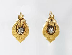 8425044 333er GG Gold Ohrringe Spätbiedermeier Diamant