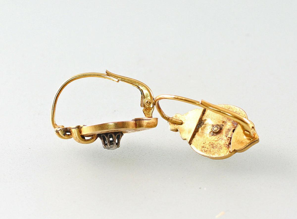 8425044 333er GG Gold Ohrringe Spätbiedermeier Diamant 1