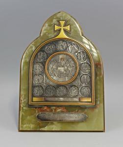 8369008 Religiöser Aufsteller Votivbild Relief Passion Christi Kupfer Onyx