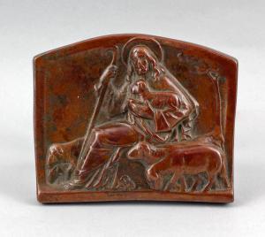 8369020 Votivbild Aufsteller Agnus Dei Porzellan-Relief Kupferüberzug 19.Jh.
