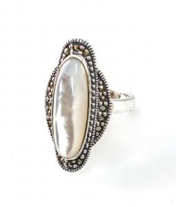 9927647 925er Silber Ring Perlmutt Markasiten Gr. 54/53