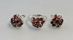 9927186 925er Silber Ohrringe und Ring Gr.56 mit Granat