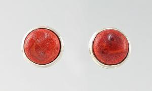 9907364 925er Silber Ohrringe Ohrclips Schaum-Koralle