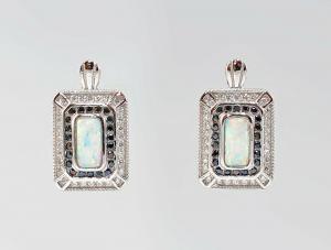 9907378 925er Silber Ohrringe Ohrstecker Opal Markasiten
