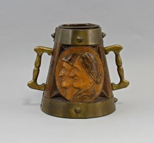 Old peasant Relief pitcher Wood carved with brass fittings 99833098