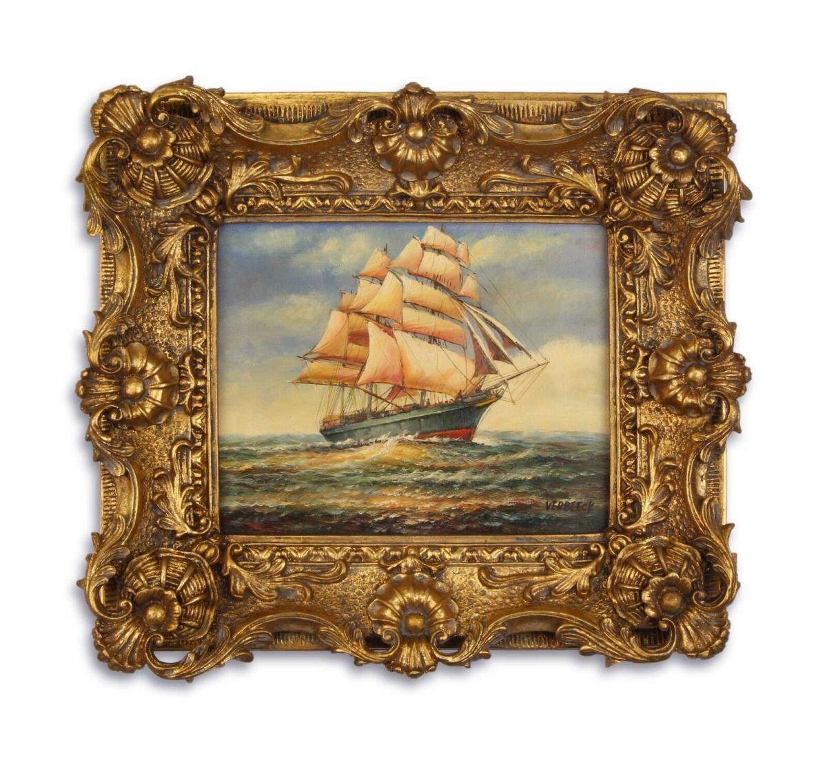 Ölgemälde auf Holz im Holz/Resin-Goldstuck-Rahmen Segelschiff 9973266-dsp 0