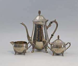 99830187 Vernickeltes Kaffee-Kernstück 3 Teile Barockstil