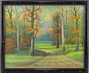 8463011 Pastellkreide Zeichnung Herbst Park Pointillismus um 1900/20 signiert