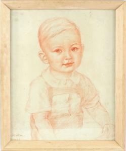 8463007 Rötelzeichnung signiert 1943 Kinderporträt Knabe hinter Glas gerahmt