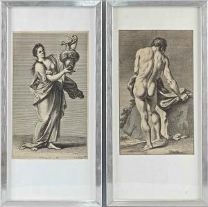 8463012 Paar Kupferstiche Georg Martin Preisler Antike Motive