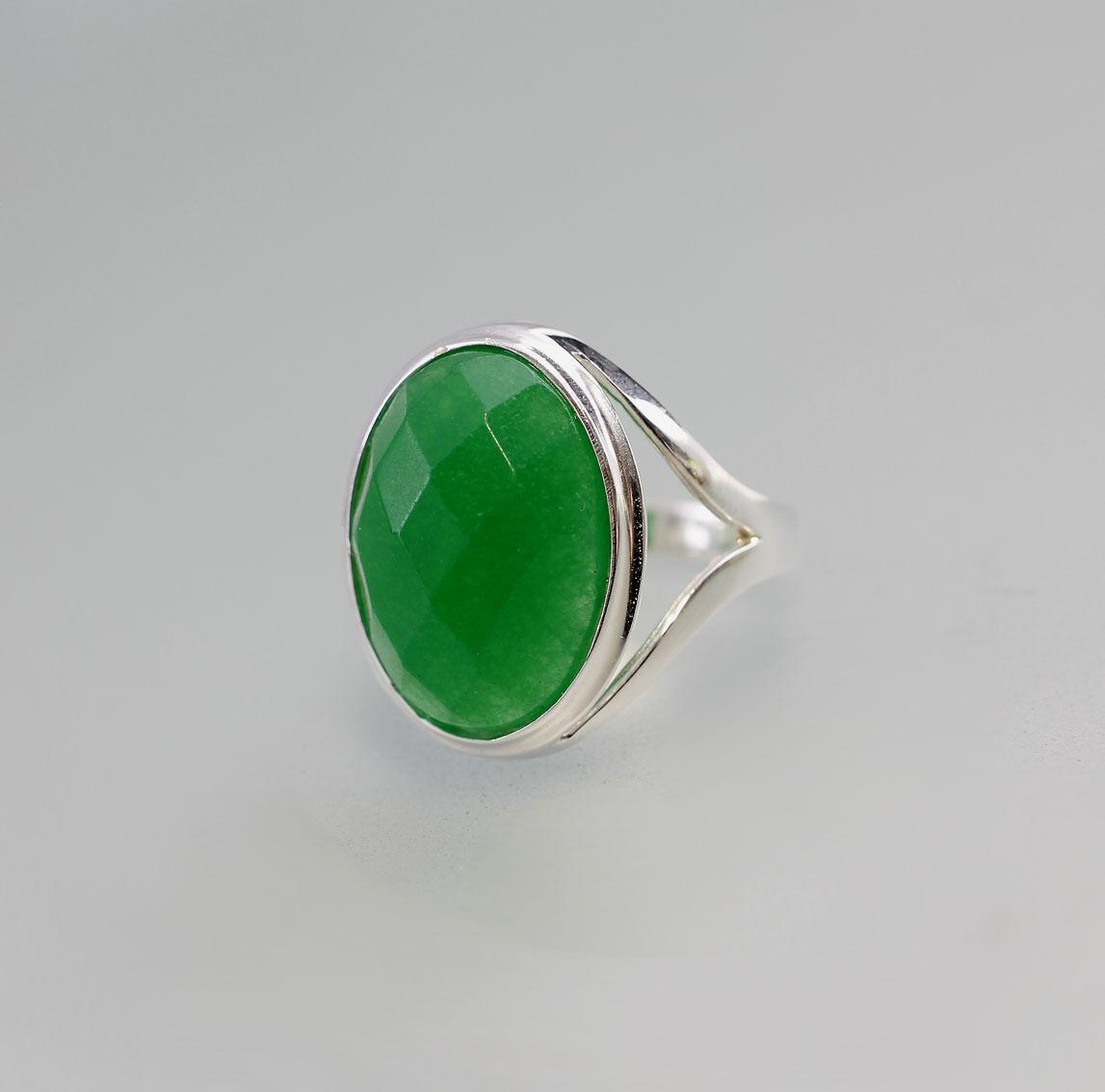9907083 925er Silber modischer Ring mit grünem facettiertem Achat Gr. 59 0