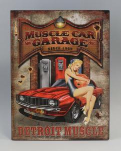 9973213 Reklameschild Blechschild Pin-Up-Girl roter Cadillac Vintage Nostalgie