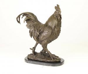 99937979-dss Bronze Skulptur Hahn Gockel Haushuhn Figur neu