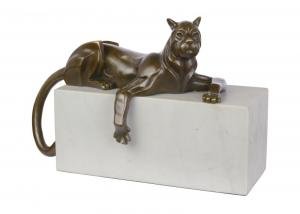 9973327-dssp Bronze Skulptur Art deco-Stil Panther liegend modern neu