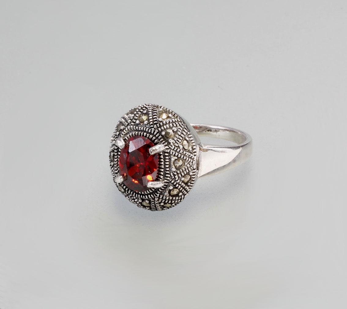 9907093 925er Silber Roter Zirkonia-Ring Neu Gr. 62 0