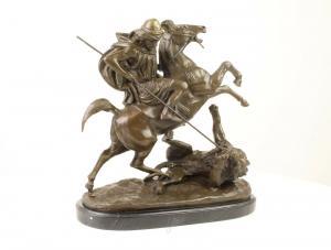 99937984-dss Bronze Skulptur Arabischer Reiter Löwe Kampf Figurengruppe neu