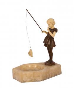 99937913-dss Bronze Resin Figur Fischendes Mädchen auf marmorierter Schale neu
