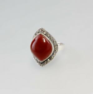 9907174 925er Silber Ring  rot  Neu Gr.57