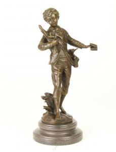 99937983-dss Bronze Skulptur Junge Bub Lausbub stromern barfuß Figur neu