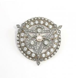 9901516 925er Silber Brosche mit Swarovski-Steinen u. synth. Perle Art déco