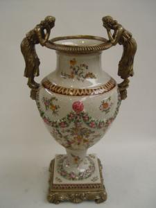 99937876-dss Messing Keramik Amphore Vase Schönheiten Historismus prunkvoll neu