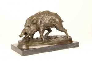 99937644-dss Bronze Skulptur Wildschwein Figur neu