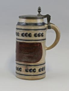 8348002  Keramik Bierkrug Walzenkrug  Zinndeckel 18.Jh. Westerwald