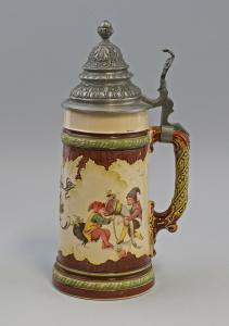 8348006  Keramik Bierkrug Zinn-Deckel Mettlach Zwerge Schlitt