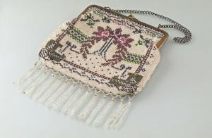 8425002 Jugendstil Glasperlen-Tasche bestickt antik