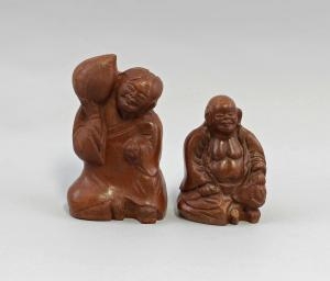 99839041 Paar Ton-Figuren Buddha Budai China