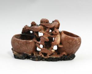 99839049 Speckstein-Vase Asien Tierfiguren