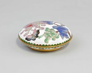 99839024 Kleine Deckel-Dose Messing emailliert Cloisonné Asien Blumen