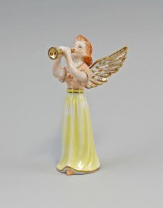 9987229 Porzellan Engel mit Trompete Othengrafen bunt handbemalt gold H15,5cm