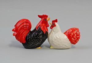 9976115 Keramik Figur Gewürz-Streuer Hahn und Henne H9cm