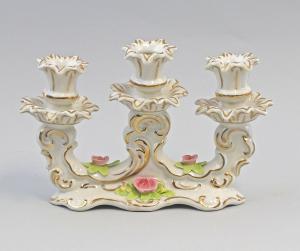9959352 Porzellan Ens 3-armiger Leuchter handmodell. Rosen gold 24x7x24cm